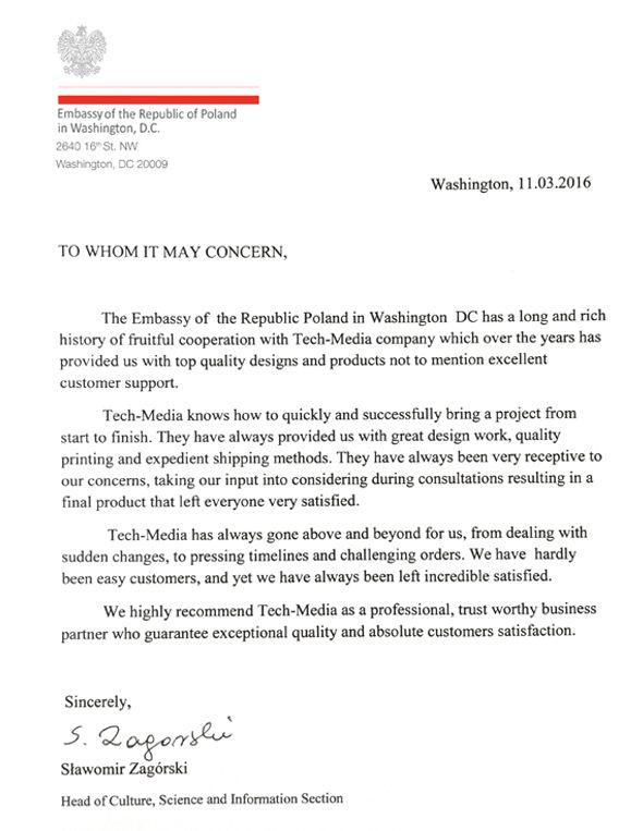 Referencje Ambasada Polski w Waszyngtonie
