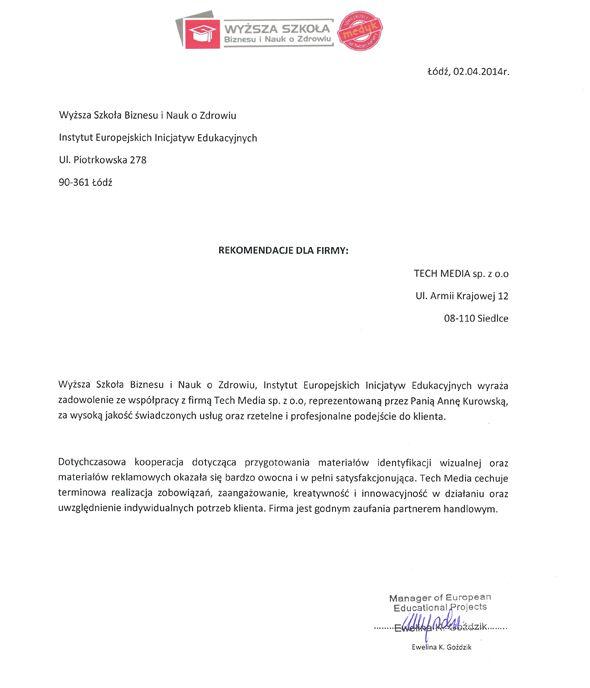 Referencje Wyższa Szkoła Biznesu i Nauk o Zdrowiu